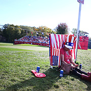 Ryder Cup 2016. Day Three. A spectator in position early on the twelfth hole before the start of play during the Sunday singles competition at the Ryder Cup tournament at Hazeltine National Golf Club on October 02, 2016 in Chaska, Minnesota.  (Photo by Tim Clayton/Corbis via Getty Images)