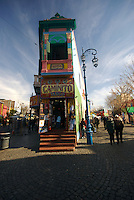 Corner in Caminito Street in La Boca, Buenos Aires, Argentina. La Boca is a popular tourist destination, and this corner is building a landmark in the neighborhood.