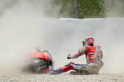 June 17, 2018 - Barcelona, Catalonia, Spain - The Italian rider, Andrea Dovizioso of Ducati Team, crash during the Catalunya Motorcycle Grand Prix at Circuit de Catalunya on June 17, 2018 in Barcelona, Spain. (Credit Image: © Joan Cros/NurPhoto via ZUMA Press)