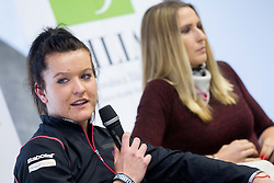 Nastja Kolar and Polona Hercog  during press conference of Team Slovenia before playing in Zone Group 1 of Fed Cup tournament in Budapest on January 29, 2014 in BTC City, Ljubljana, Slovenia. Photo by Vid Ponikvar / Sportida