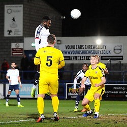 TELFORD COPYRIGHT MIKE SHERIDAN 5/3/2019 - GOAL. Amari Morgan Smith of AFC Telford rises highest to open the scoring during the National League North fixture between AFC Telford United and Darlington at the New Bucks Head Stadium