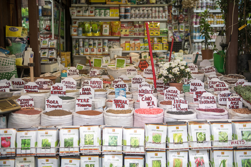 In storefront display sits bags full of a variety of seeds for sale at outdoor marketplace, Istanbul, Turkey.