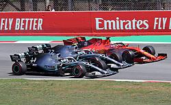 May 12, 2019 - Barcelona, Catalonia, Spain - Ferrari of Sebastian Vettel, Mercedes of Valtteri Bottas and Lewis Hamilton during the GP Spain Formula 1, on 12th May 2019, Barcelona, Spain. (Credit Image: © Joan Valls/NurPhoto via ZUMA Press)
