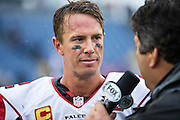 NASHVILLE, TN - OCTOBER 25:  Matt Ryan #2 of the Atlanta Falcons being interviewed after a game against the Tennessee Titans at Nissan Stadium on October 25, 2015 in Nashville, Tennessee.  The Falcons defeated the Titans 10-7.  (Photo by Wesley Hitt/Getty Images) *** Local Caption *** Matt Ryan