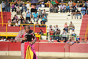 BEA AHBECK/NEWS-SENTINEL<br /> Brega Mario Teixeira is honored as he retires from bullfighting during the bloodless bullfight during the Our Lady of Fatima Portuguese Festival in Thornton Saturday, Oct. 14, 2017.