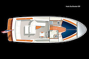 Vector rendering of the deck accommodation plan of the Hunt Surfhunter 29 yacht.