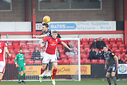 8 Ollie Palmer for Lincoln City wins the ball against 8 James Jones for Crewe Alexander during the EFL Sky Bet League 2 match between Crewe Alexandra and Lincoln City at Alexandra Stadium, Crewe, England on 26 December 2018.