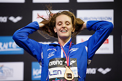 Francesca Halsall of Great Britain wins the Bronze Medal in the Womens 50m Butterfly Final - Photo mandatory by-line: Rogan Thomson/JMP - 07966 386802 - 19/08/2014 - SPORT - SWIMMING - Berlin, Germany - Velodrom im Europa-Sportpark - 32nd LEN European Swimming Championships 2014 - Day 7.