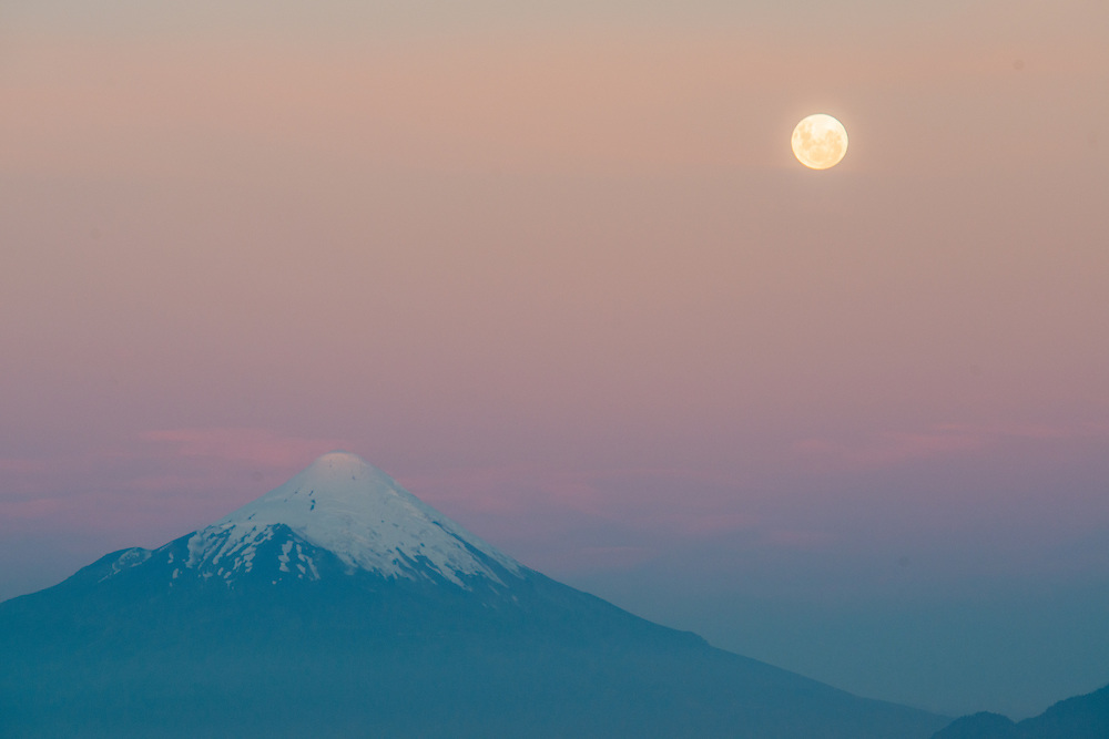 Full Moon over Puerto Varas, Chile  with Osorno Volcano