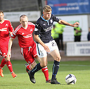 Dundee's Jim McAlister goes past Aberdeen's Willo Flood  - Dundee v Abderdeen, SPFL Premiership at Dens Park<br /> <br />  - &copy; David Young - www.davidyoungphoto.co.uk - email: davidyoungphoto@gmail.com