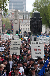 © Licensed to London News Pictures. 10/05/2012. London, UK. Thousands of off duty Police Officers from around the UK demonstrating along Whitehall today (10/05) in protest over proposed changes to Police budgets and pensions. Photo credit : James Gourley/LNP