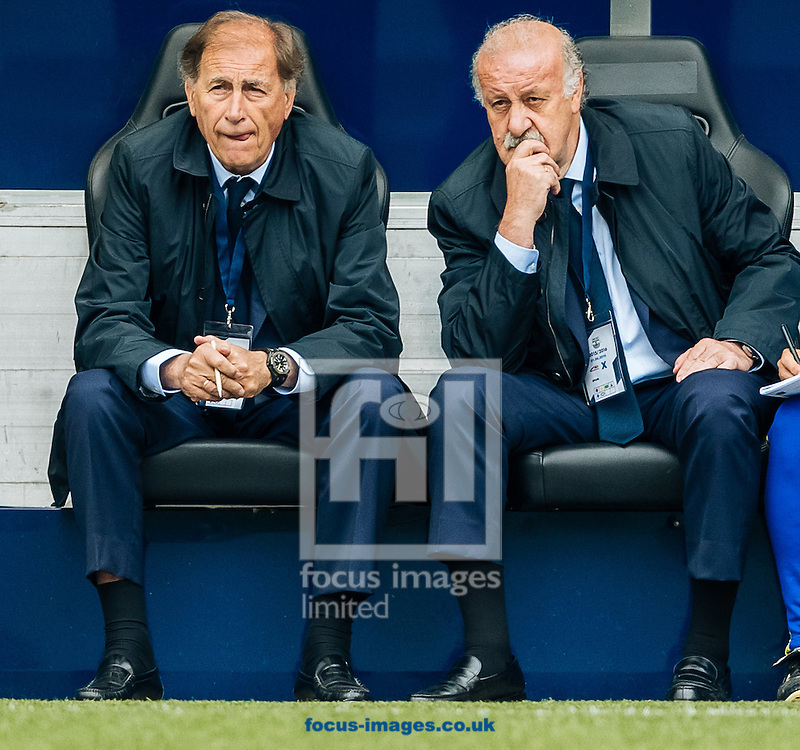 Assistent coach Toni Grande (left) and head coach Vicente del Bosque of Spain during the International Friendly match at Red Bull Arena, Salzburg<br /> Picture by EXPA Pictures/Focus Images Ltd 07814482222<br /> 01/06/2016<br /> ***UK &amp; IRELAND ONLY***<br /> (filename}