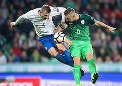 Jan Durica of Slovakia vs Jasmin Kurtic of Slovenia during football match between National teams of Slovenia and Slovakia in Round #2 of FIFA World Cup Russia 2018 qualifications in Group F, on October 8, 2016 in SRC Stozice, Ljubljana, Slovenia. Photo by Vid Ponikvar / Sportida