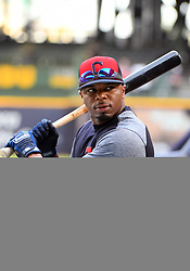 May 8, 2018 - Milwaukee, WI, U.S. - MILWAUKEE, WI - MAY 08: Cleveland Indians Outfield Rajai Davis (26) takes a practice swing before a MLB game between the Milwaukee Brewers and Cleveland Indians on May 8, 2018 at Miller Park in Milwaukee, WI. The Brewers defeated the Indians 3-2.(Photo by Nick Wosika/Icon Sportswire) (Credit Image: © Nick Wosika/Icon SMI via ZUMA Press)