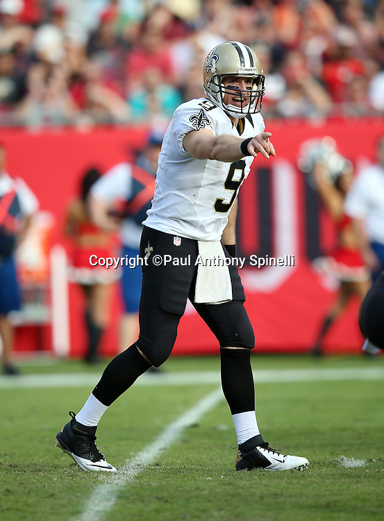 New Orleans Saints quarterback Drew Brees (9) points as he audibles from the shotgun formation during the 2015 week 14 regular season NFL football game against the Tampa Bay Buccaneers on Sunday, Dec. 13, 2015 in Tampa, Fla. The Saints won the game 24-17. (©Paul Anthony Spinelli)