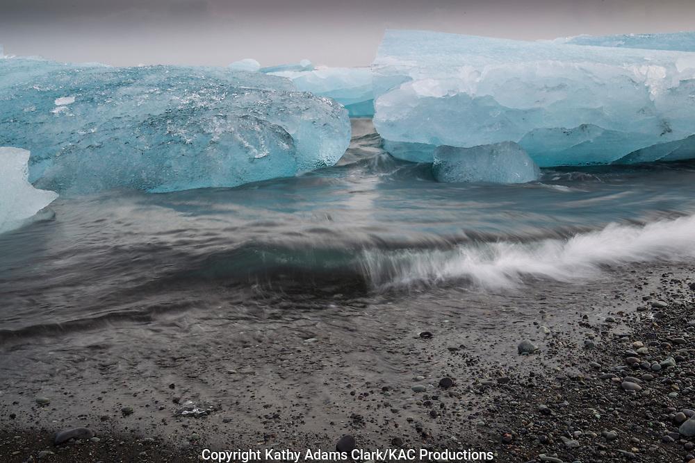 Glacier ice; from  Vatnajokull Glacier, Iceland; Jokulsarlon;