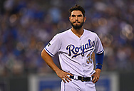 Kansas City Royals first basemen Eric Hosmer (35) looks on, after making the final out against the Seattle Mariners during the fourth inning at Kauffman Stadium.