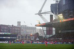Heavy rain falls as the players head in for half time  - Photo mandatory by-line: Rogan Thomson/JMP - Tel: 07966 386802 - 19/10/2013 - SPORT - RUGBY UNION - Cardiff Arms Park, Wales - Cardiff Blues v Toulon - Heineken Cup Round 2.