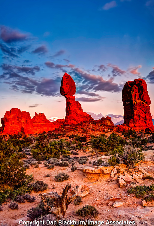 Dramatic Sunset on Balanced Rock Arches National Park Utah