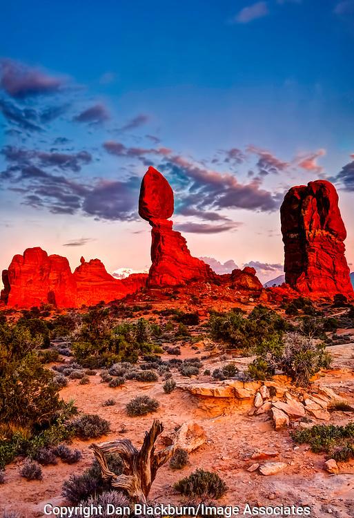 Dramatic Sunset on Balanced Rock Arches National Park Utah