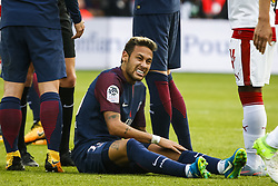 September 30, 2017 - Paris, France - Paris Saint-Germain's Brazilian forward Neymar (C) reacts during the French L1 football match between Paris Saint-Germain and Bordeaux at the Parc des Princes stadium in Paris on September 30, 2017. (Credit Image: © Geoffroy Van Der Hasselt/NurPhoto via ZUMA Press)