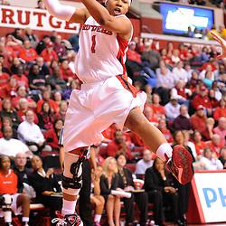 Feb 24, 2009; Piscataway, NJ, USA; Rutgers guard Khadijah Rushdan (1) grabs an offensive rebound during the second half of Rutgers' 71-52 victory over Cincinnati at the Louis Brown Athletic Center.