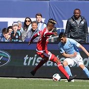 David Villa, NYCFC, in action watched by Patrick Vieira, NYCFC head coach during the New York City FC Vs New England Revolution, MSL regular season football match at Yankee Stadium, The Bronx, New York,  USA. 26th March 2016. Photo Tim Clayton