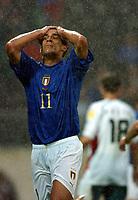 Bernardo Corradi dejection after Bulgaria goal<br /> Italy EURO 2004<br /> Italy V Bulgaria 22/06/04 EURO 2004 PORTUGAL<br /> Photo Robin Parker Digitaslport