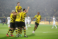 13.02.2015, Signal Iduna Park, Dortmund, GER, 1. FBL, Borussia Dortmund vs 1. FSV Mainz 05, 21. Runde, im Bild vl: Kevin Kampl (Borussia Dortmund #23), Marco Reus (Borussia Dortmund #11), Torschuetze Neven Subotic (Borussia Dortmund #4) und Pierre-Emerick Aubameyang (Borussia Dortmund #17) beim Torjubel nach dem Treffer zum 1:1 Ausgleich // during the German Bundesliga 21th round match between Borussia Dortmund and 1. FSV Mainz 05 at the Signal Iduna Park in Dortmund, Germany on 2015/02/13. EXPA Pictures © 2015, PhotoCredit: EXPA/ Eibner-Pressefoto/ Schueler<br /> <br /> *****ATTENTION - OUT of GER*****