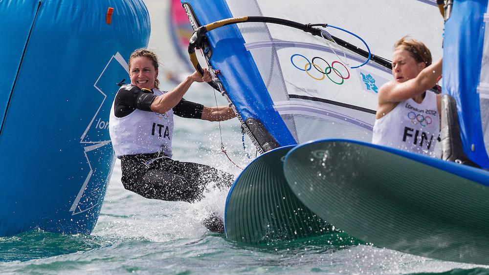 ENGLAND, Weymouth. 2nd August 2012. Olympic Games. Women's RS:X Class. Alessandra Sensini (ITA).