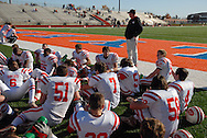 31 Oct. 2009 -- EAST ST. LOUIS, Ill. -- Players and coaches from Bradley-Bourbonnais relax in the end zone during halftime of the Boilermakers' opening round IHSA playoff game against East St. Louis Saturday, Oct. 31, 2009 in East St. Louis, Ill. ESLHS won the game 50-43. Photo © copyright 2009 by Sid Hastings.