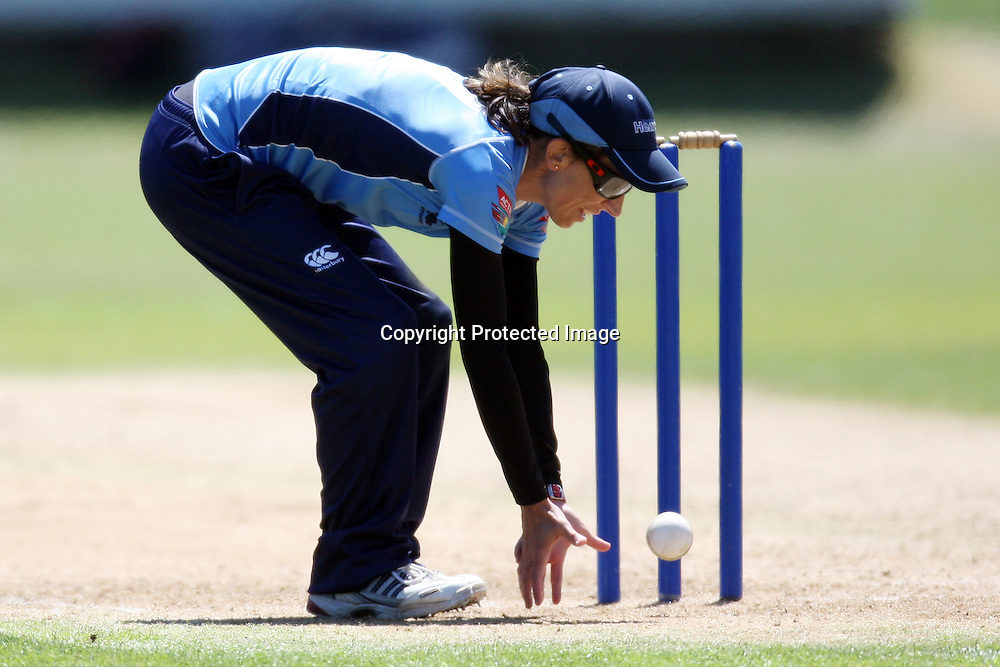 Paula Gruber. Women's One Day Cricket, Action Cricket Cup, Auckland Hearts v Central Hinds, Melville Park, Auckland, Saturday 8 January 2011, . Photo: Ella Brockelsby/photosport.co.nz