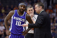 Mar 15, 2017; Phoenix, AZ, USA; Sacramento Kings guard Ty Lawson (10) listens as head coach David Joerger talks to him on the sidelines during the game against the Phoenix Suns at Talking Stick Resort Arena. Mandatory Credit: Jennifer Stewart-USA TODAY Sports