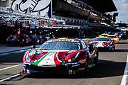 June 10-16, 2019: 24 hours of Le Mans. 51 AF CORSE, FERRARI 488 GTE EVO, Alessandro PIER GUIDI,  James CALADO, Daniel SERRA , morning warmup