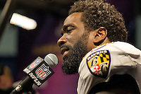3 February 2013: Safety (20) Ed Reed of the Baltimore Ravens speaks to the media after defeating the San Francisco 49ers in Superbowl XLVII at the Mercedes-Benz Superdome in New Orleans, LA.
