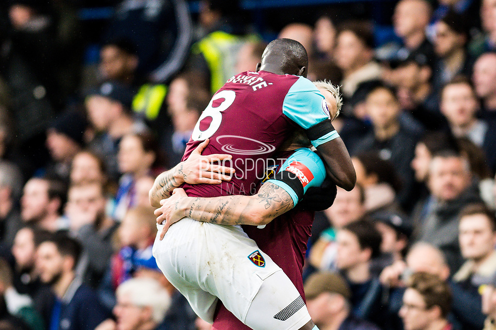West Ham  (8) Cheikhou Kouyaté, West Ham  (7) Marko Arnautović, celebrate goal  during the Premier League match between Chelsea and West Ham United at Stamford Bridge, London, England on 8 April 2018. Picture by Sebastian Frej.