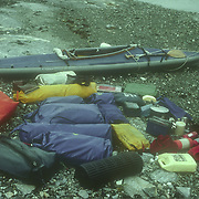 Duncan Murrell's Klepper Aerius 1 folding kayak and gear at the start of a kayaking trip, Angoon, Admiralty Island, Southeast Alaska, USA.<br />