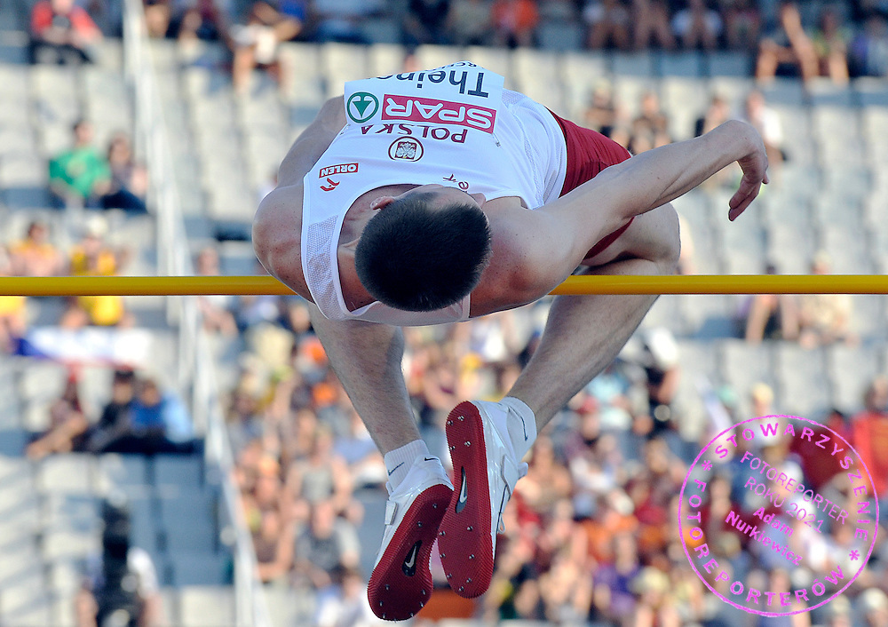 WOJCIECH THEINER (POLAND) COMPETES IN THE MEN'S HIGH JUMP QUALIFICATION DURING THE 2010 EUROPEAN ATHLETICS CHAMPIONSHIPS AT OLYMPIC STADIUM IN BARCELONA, SPAIN...SPAIN , BARCELONA , JULY 27, 2010..( PHOTO BY ADAM NURKIEWICZ / MEDIASPORT )..PICTURE ALSO AVAIBLE IN RAW OR TIFF FORMAT ON SPECIAL REQUEST.