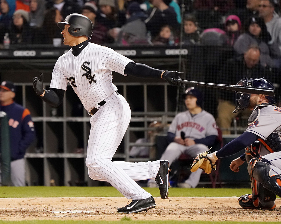 CHICAGO - April 21:  Trayce Thompson #32 of the Chicago White Sox hits his first home run of the season against the Houston Astros on April 21, 2018 at Guaranteed Rate Field in Chicago, Illinois.  (Photo by Ron Vesely)   Subject:   Trayce Thompson