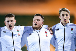 Olly Adkins, Alfie Petch and Richard Capstick of England U20 - Mandatory by-line: Robbie Stephenson/JMP - 15/03/2019 - RUGBY - Franklin's Gardens - Northampton, England - England U20 v Scotland U20 - Six Nations U20