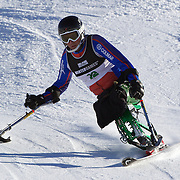 Ian Bishop, Great Britain, in action during the Men's Slalom Sitting, Adaptive Slalom competition at Coronet Peak, New Zealand during the Winter Games. Queenstown, New Zealand, 25th August 2011. Photo Tim Clayton