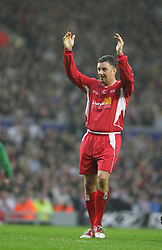 LIVERPOOL, ENGLAND - SUNDAY MARCH 27th 2005: Liverpool Legends' John Aldridge salutes the Kop during the Tsunami Soccer Aid match at Anfield. (Pic by David Rawcliffe/Propaganda)
