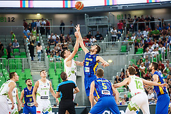 Gasper Vidmar of Slovenia and Fisnik Rugova of Kosovo during qualifying match between Slovenia and Kosovo for European basketball championship 2017,  Arena Stozice, Ljubljana on 31th August, Slovenia. Photo by Grega Valancic / Sportida