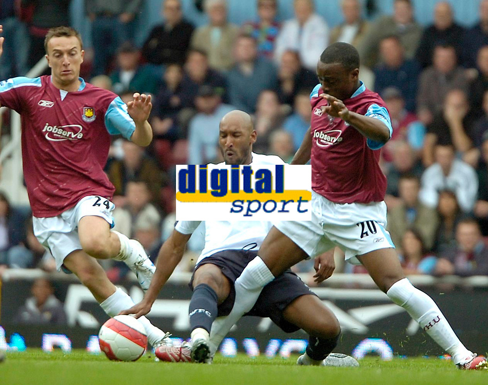 Photo: Ed Godden/Sportsbeat Images.<br /> West Ham United v Bolton Wanderers. The Barclays Premiership. 05/05/2007. Bolton's Nicolas Anelka (centre), is brought to the ground by Nigel Reo-Coker (R).