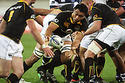 Wellington number eight Victor Vito pops the ball to Alby Mathewson.<br /> Air NZ Cup Ranfurly Shield match - Wellington Lions v Auckland at Westpac Stadium, Wellington, New Zealand. Saturday, 22 August 2009. Photo: Dave Lintott/PHOTOSPORT