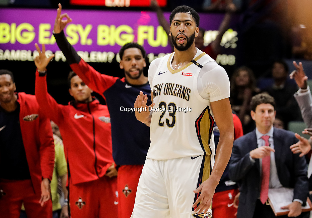 Oct 23, 2018; New Orleans, LA, USA; New Orleans Pelicans forward Anthony Davis (23) celebrates after a three point basket against the Los Angeles Clippers during the fourth quarter at the Smoothie King Center. The Pelicans defeated the Clippers 116-109. Mandatory Credit: Derick E. Hingle-USA TODAY Sports