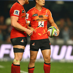 DURBAN, SOUTH AFRICA - JULY 15: (L) Edward Quirk of the Sunwolves with (R) Yu Tamura (captain) of the Sunwolves during the Super Rugby match between the Cell C Sharks and Sunwolves at Growthpoint Kings Park on July 15, 2016 in Durban, South Africa. (Photo by Steve Haag/Gallo Images)