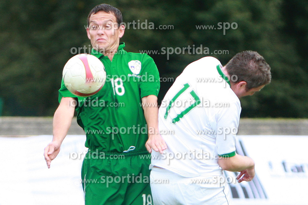 Nenad Protega and Miha Dezelak at friendly football game between famous Slovenians at day of Fair play, on September 21, 2008 in Kodeljevo, Ljubljana, Slovenia. (Photo by Vid Ponikvar / Sportal Images)
