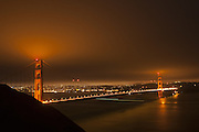 Golden Gate Bridge and San Francisco at night from Battery Spencer, Golden Gate National Recreation Area, Marin Headlands, California
