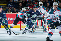 KELOWNA, CANADA - APRIL 30: Devante Stephens #21 of the Kelowna Rockets shoves Scott Eansor #8 of the Seattle Thunderbirds away from the net during first period on April 30, 2017 at Prospera Place in Kelowna, British Columbia, Canada.  (Photo by Marissa Baecker/Shoot the Breeze)  *** Local Caption ***